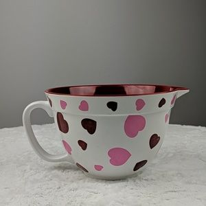 Other - Heart Printed Mixing Bowl with Handle Valentine's